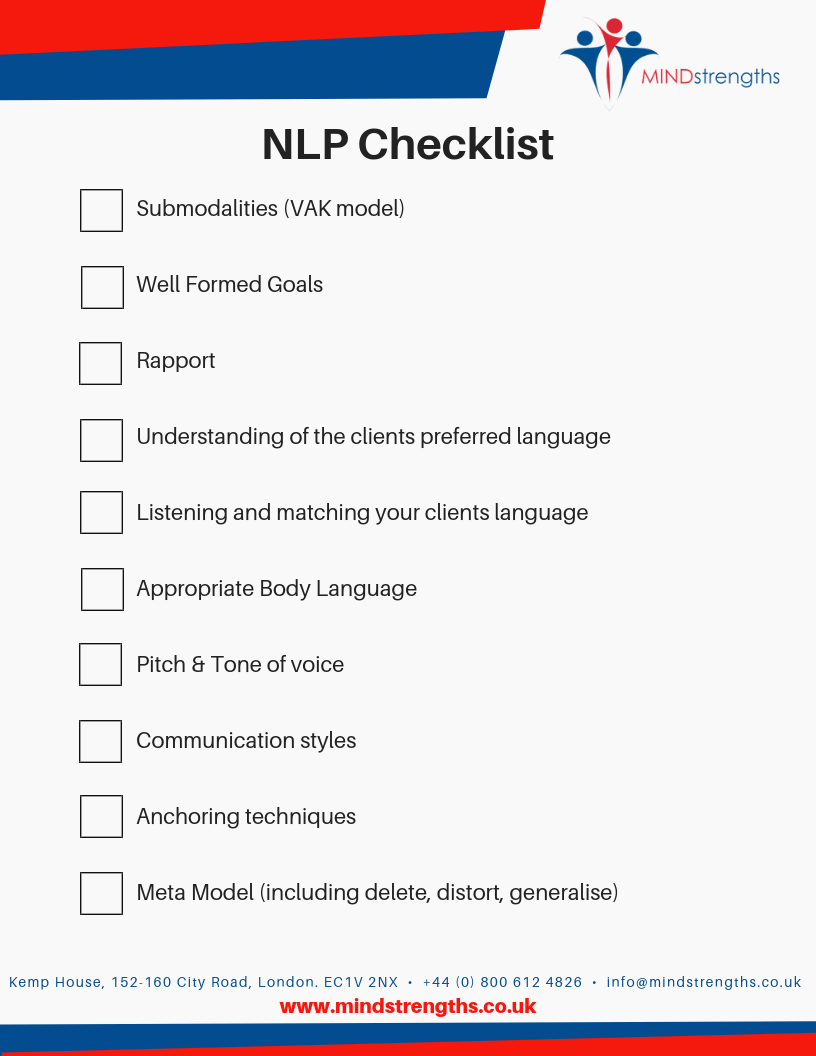 NLP Checklist, Mind Strengths, Teamwork, Business, Coach, Mentor, Kent, London, Lincolnshire