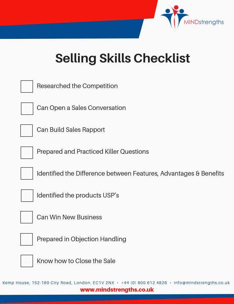 Selling Skills Checklist, Mind Strengths, Teamwork, Business, Coach, Mentor, Kent, London, Lincolnshire