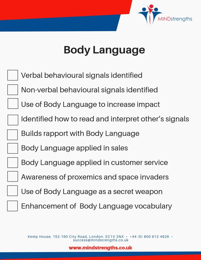 Body Language checklist, download, Mind Strengths, Teamwork, Business, Coach, Mentor, Kent, London, Lincolnshire